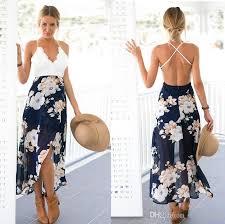 backless floral print chiffon dress patchwork lace v neck open