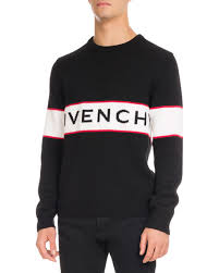 givenchy sweater givenchy logo stripe wool sweater black
