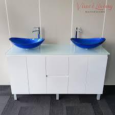 Blue Glass Bathroom Accessories Milan 1500mm Freestanding Bathroom Vanity Unit White Glass Top