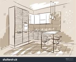 interior design sketch kitchen dinner table stock vector 559084975