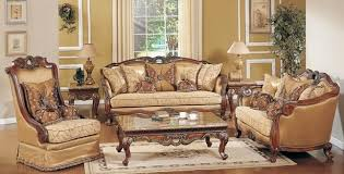 Traditional Living Room Sofas Formal Living Room Sofa Set Medium Cherry Carved Wood Accents