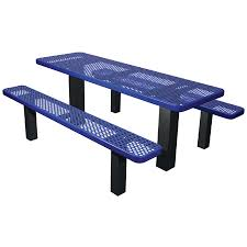 Commercial Outdoor Tables Commercial Outdoor Permanent Mount Expanded Metal Picnic Table