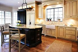 cabinets two level kitchen island laminate wooden floor barstools