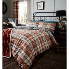 catherine lansfield heritage kelso check cotton rich duvet cover