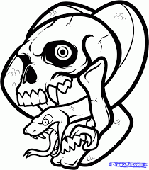 how to draw a skull and snake skull and snake by