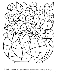 color by number coloring pages for kids free at flower eson me