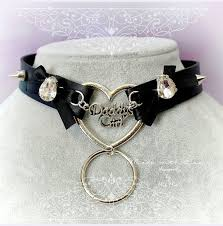 leather bow necklace images Bdsm daddys girl choker necklace black faux leather heart o ring bow jpg