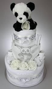 luxury unisex baby boy three tier nappy cake with cute panda