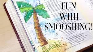 bible journaling smooshing with watercolor flourish psalm 92