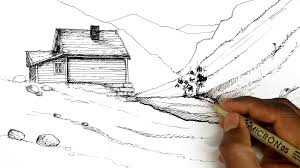how to draw landscape sketch landscapes youtube