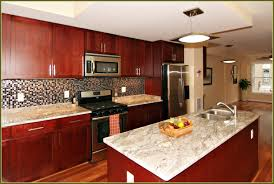 travertine countertops kitchen with cherry cabinets lighting