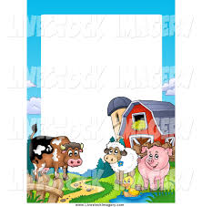 christmas border writing paper ribbon christmas border clipart 2206160 clip art of a happy cow duck sheep and pig by a silo and barn border