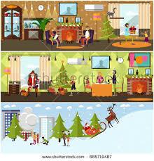 home celebration home interior set banners years celebration stock illustration 685719487