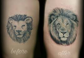 realistic black and gray lion cover up by haylo tattoonow