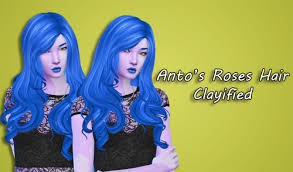 sims 4 blue hair my sims 4 blog roses hair clayified by xdeadgirlwalking