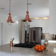 pendant lights with beautiful copper shades become the center of