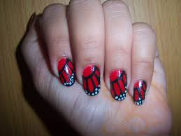saipriya patel red butterfly print nail art design