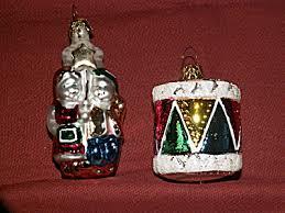 2 vintage mercury glass ornaments drum children with