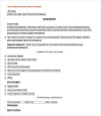 Entry Level Bookkeeper Resume Sample by 9 Sample Accounting Resumes Free Sample Example Format Free