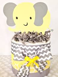 mini elephant theme baby shower diaper cake in gray and yellow