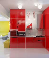 best kitchen lighting for small design with red cabinet colors and