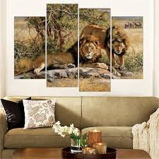 african animals painting leopard lion elephant zebra print on african animals painting leopard lion elephant zebra print on canvas wall art home decor canvas art 5 color frameless 4 pieces in painting calligraphy