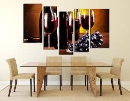 Wine Glass Wall Decor 5 Piece Huge Canvas Print Wine Glass Canvas Wall Art Wine Bottle