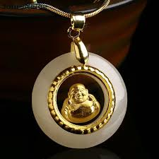 rope necklace pendant images Wholesale natural stone pendants plate gold laughing buddha jpg