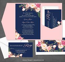 navy wedding invitations navy floral wedding invitation new product jeneze designs