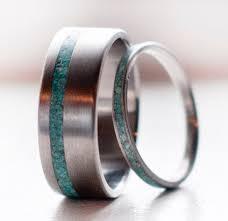 matching titanium wedding bands the vertigo matching set of turquoise titanium wedding bands