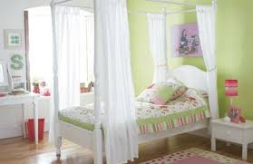 Canopy Bed Curtains For Girls Bedroom Enchanting Design Using White Polyester Curtain And White