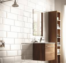 large white bathroom tiles sleek rectangular mirror with unique