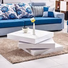 3 layers rotatable square coffee table high gloss white livingroom
