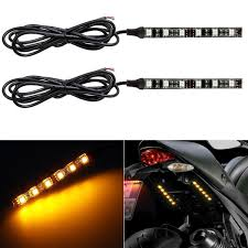 how to install led strip lights on a motorcycle amazon com partsam 2x mini strip black led motorcycle turn signal