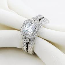 vintage wedding ring sets newshe vintage bridal set princess white cz 925