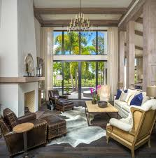 chic cow hide rug in living room contemporary with recessed