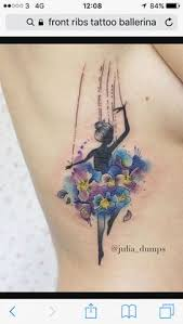 ballerina flower geometric on side back watercolor tattoo on