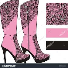 s boots high heel womens boots high heels decorated vintage stock vector 120240250