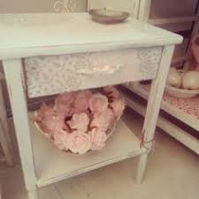 white shabby chic vintage rose bedside table by polly cotton