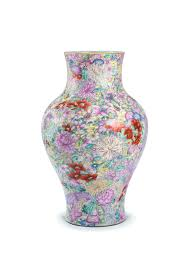 a famille rose u0027mille fleurs u0027 vase qing dynasty 19th century with
