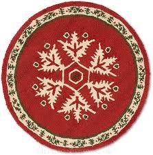 handmade christmas snowflake round hooked rug