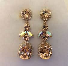 Long Chandelier Earrings Dangle Earrings Rose Gold Bridal Mosaic Statement Necklace The Crystal Rose
