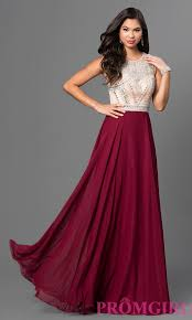 image of long burgundy red prom dress with beaded bodice front
