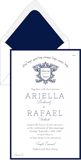 chuppah dimensions navy and charcoal lavish monogram wedding invitation hebrew