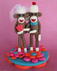 custom 4 inch sock monkey wedding cake topper in by spiritmama