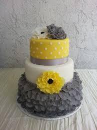 gray yellow white simple but yet elegant wedding cake