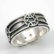mens celtic rings mens silver ring celtic knot oxidized sterling handmade