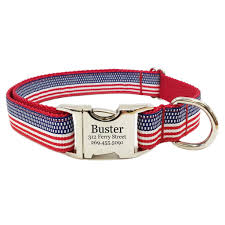 Buster Comfort Collar Rita Bean Engraved Buckle Personalized Dog Collar American Flag