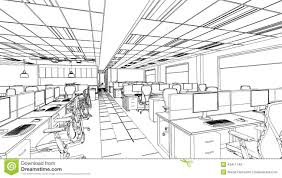 outline sketch of a interior office area stock illustration
