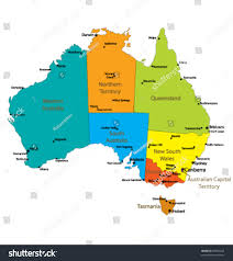 australia map of cities map australia major towns cities each stock vector 30853225